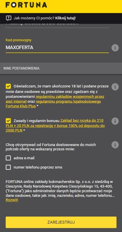 Fortuna - kod promocyjny MAXOFERTA