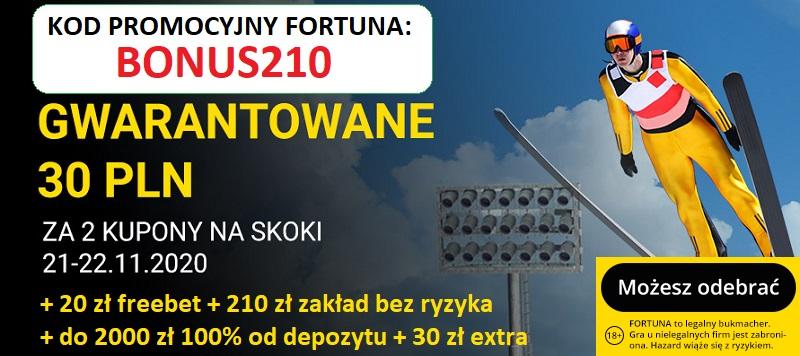 Gwarantowane 30 zł na skoki narciarskie w Fortuna i kod promocyjny Fortuna