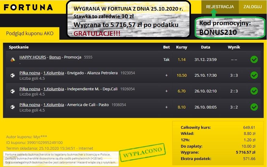 Wygrany kupon i zakład w Fortuna z dnia 25.10.2020 w Bukmacherzy.com