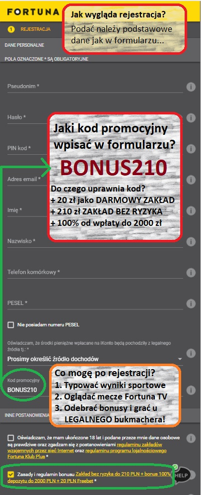 Fortuna kod promocyjny BONUS210