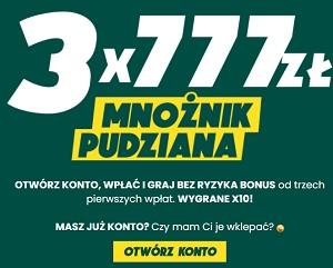 Mnożnik Pudziana - 3 x 777 zł dla nowych graczy w Betfan z Bukmacherzy.com
